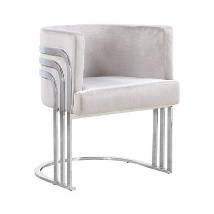 An Image of Lula Brown Velvet Dining Chair With Silver Stainless Steel Legs