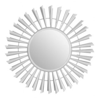 An Image of Templars Sunburst Effect Wall Bedroom Mirror In Silver Frame