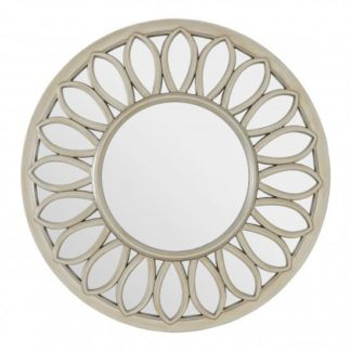 An Image of Sirloin Round Wall Bedroom Mirror In Weathered Gold Frame