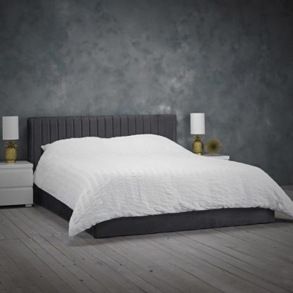 An Image of Berlin Velvet Upholstered Small Double Bed In Silver