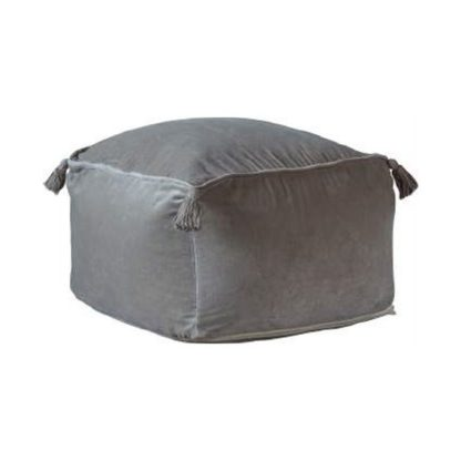 An Image of Rossi Velvet Upholstered Square Pouffe In Silver