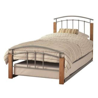 An Image of Tetras Metal Single Bed With Guest Bed In Silver With Beech Post