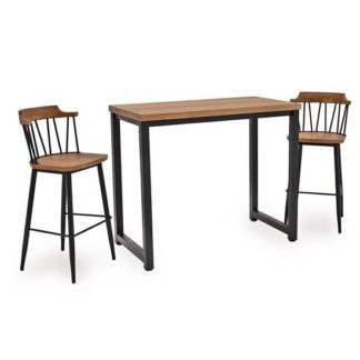 An Image of Hinrik Wooden Bar Table With 2 Blake Bar Stools In Natural Elm