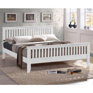 An Image of Turin Wooden King Size Bed In White