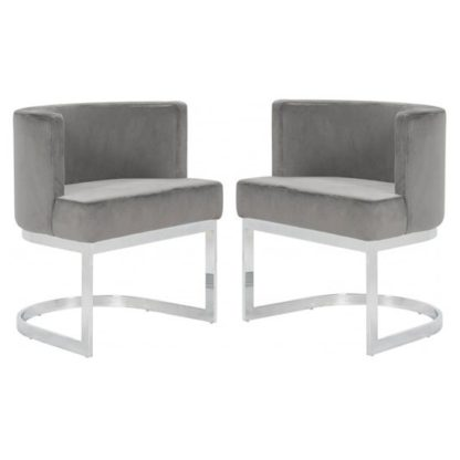 An Image of Lauro Grey Velvet Dining Chairs In Pair With Silver Legs