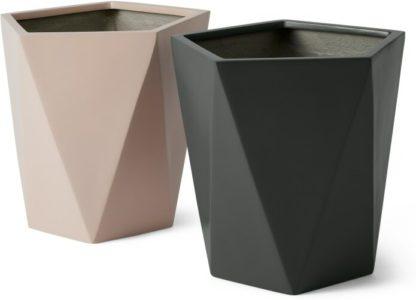 An Image of Baloo Set of 2 Geometric Large Fibreglass Planters, Light Pink & Dark Grey