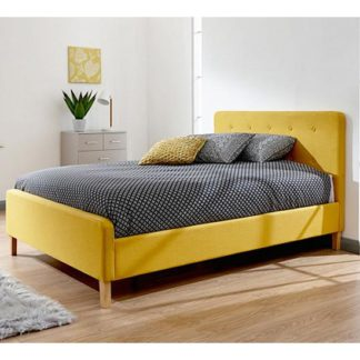 An Image of Ashbourne Wooden Double Bed In Yellow