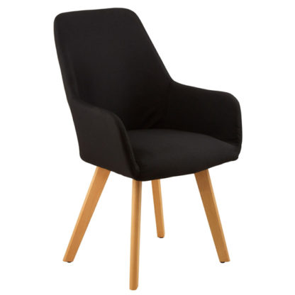 An Image of Porrima Fabric Upholstered Leisure Bedroom Chair In Black