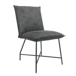 An Image of Lukas Fabric Upholstered Dining Chair In Grey