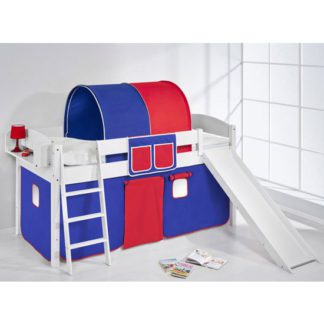 An Image of Lilla Slide Children Bed In White With Blue Red Curtains
