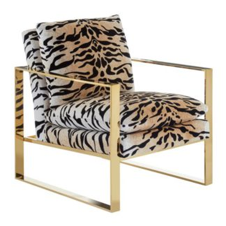 An Image of Intercrus Fabric Upholstered Armchair In Tiger Print