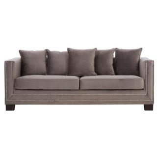 An Image of Pipirima 3 Seater Velvet Sofa In Brown