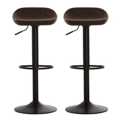An Image of Kekoun Brown Faux Leather Bar Stools In Pair