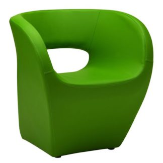 An Image of Alfro Faux Leather Effect Bedroom Chair In Apple Green