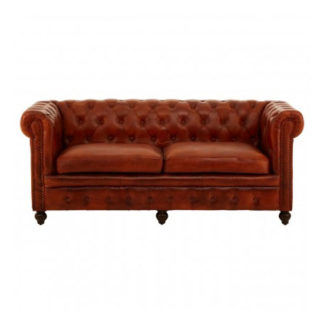 An Image of Buffaloes 3 Seater Leather Sofa In Tan