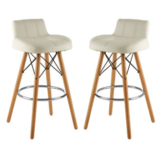 An Image of Porrima White Faux Leather Effect Bar Stools In Pair