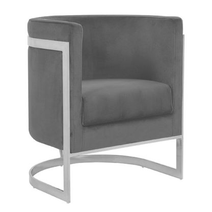 An Image of Fenda Velvet Armchair In Grey With Silver Stainless Steel Legs