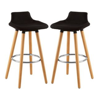 An Image of Porrima Black Fabric Seat Bar Stools In Pair