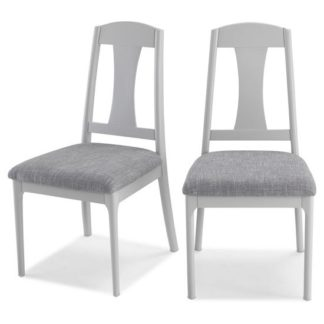 An Image of Hematic Grey Fabric Padded Dining Chairs In A Pair
