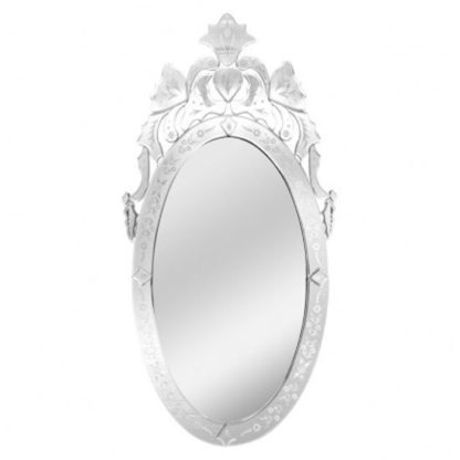 An Image of Venetians Oval Wall Bedroom Mirror In Silver Frame