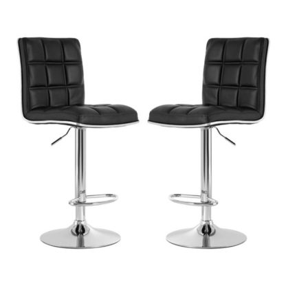 An Image of Treno Black Faux Leather Gas Lift Bar Stools In Pair