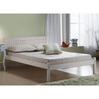 An Image of Rio Wooden Double Bed In White Washed