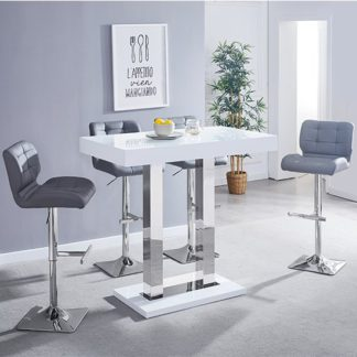 An Image of Caprice Glass Bar Table In White With 4 Candid Grey Stools