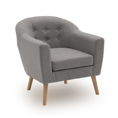 An Image of Perig Fabric Upholstered Accent Chair In Light Grey