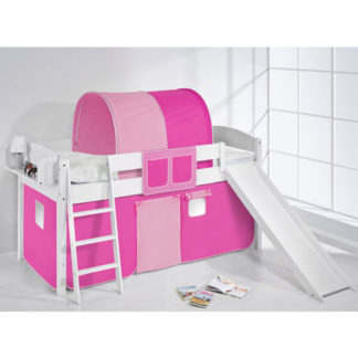 An Image of Lilla Slide Children Bed In White With Pink Curtains