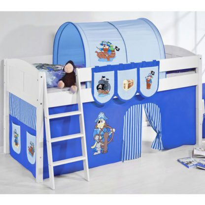 An Image of Hilla Children Bed In White With Pirate Blue Curtains