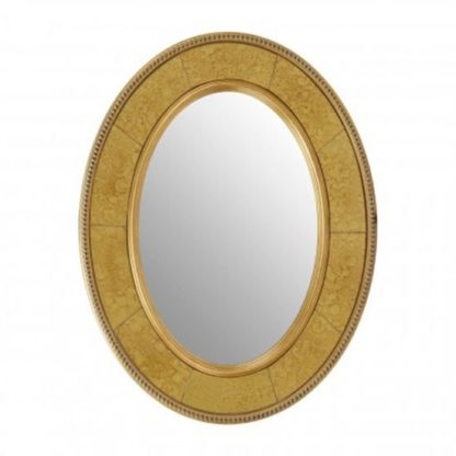 An Image of Bungle Oval Wall Bedroom Mirror In Antique Brown Frame