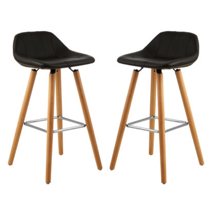 An Image of Porrima Black Faux Leather Bar Stools In Pair