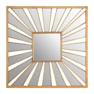 An Image of Zaria Sunburst Design Wall Bedroom Mirror In Gold Frame