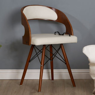 An Image of Tenova White Faux Leather Bedroom Chair With Walnut Wooden Legs