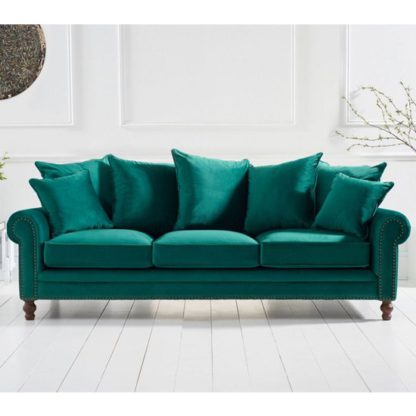 An Image of Ellopine Plush Fabric Upholstered 3 Seater Sofa In Green