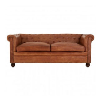 An Image of Buffaloes 3 Seater Leather Chesterfield Sofa In Light Brown