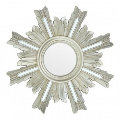 An Image of Saran Art Deco Design Wall Bedroom Mirror In Silver Frame
