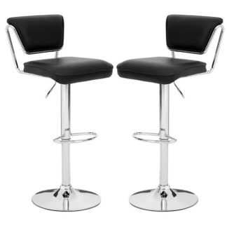 An Image of Tilotta Black Faux Leather Gas Lift Bar Chairs Pair