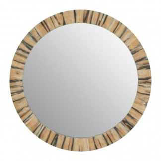 An Image of Rove Round Wall Bedroom Mirror In Black and Gold Frame