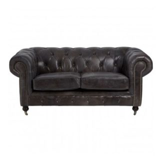 An Image of Sadalmelik 2 Seater Leather Sofa In Dark Grey