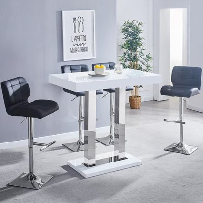 An Image of Caprice Glass Bar Table In White With 4 Candid Black Stools