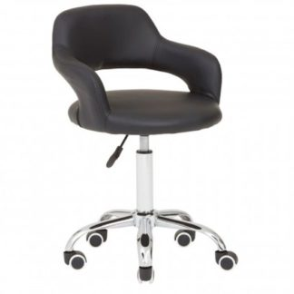 An Image of Civo Home And Office Leather Chair In Black With Curved Back