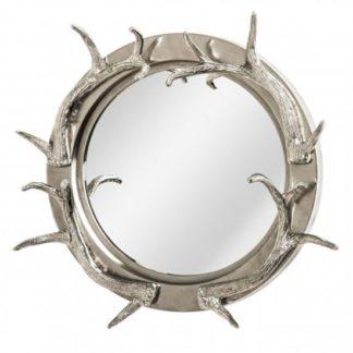 An Image of Antlers Striking Design Wall Bedroom Mirror In Nickel Frame
