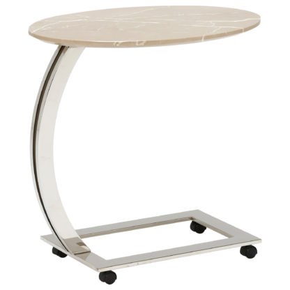 An Image of Oval Marble Accent Table, Amani Light