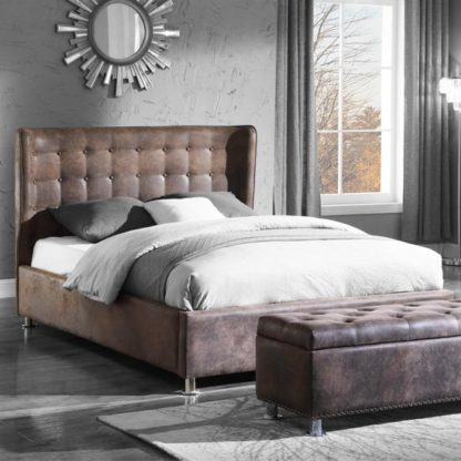 An Image of Valencia Fabric Double Bed In Antique Brown