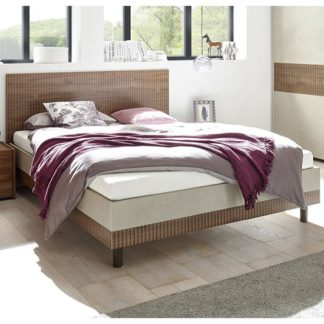 An Image of Civica Double Bed In Serigraphed Dark Walnut And Clay Effect