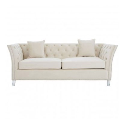 An Image of Samaria 3 Seater Fabric Chesterfield Sofa In Beige