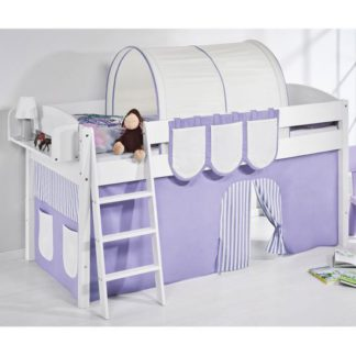 An Image of Lilla Children Bed In White With Purple Curtains