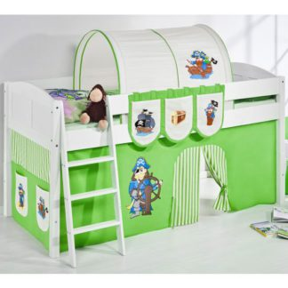 An Image of Hilla Children Bed In White With Pirate Green Curtains