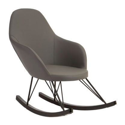 An Image of Giausar Faux Leather Rocking Chair In Dark Grey